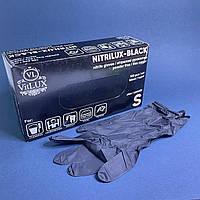 Рукавички чорні нітрилові VitLUX,100 шт, розмір S