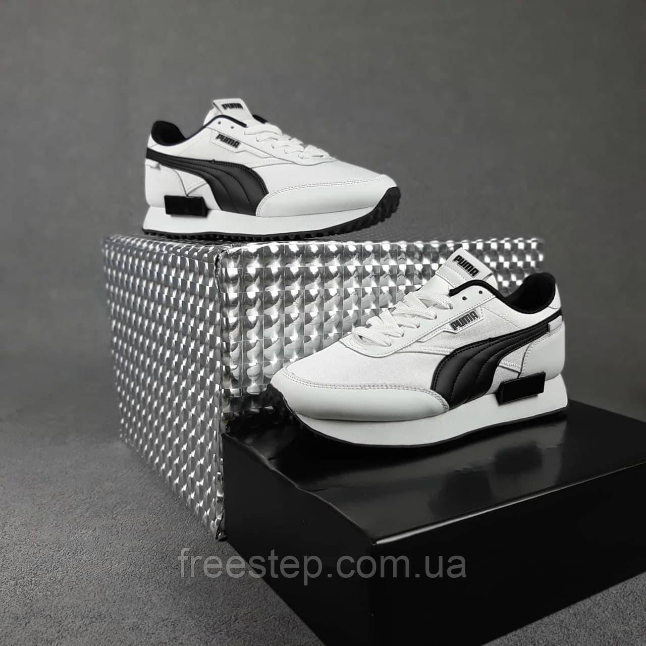 Жіночі кросівки в стилі Puma Future Rider білі з чорним