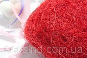 Сизаль натуральна (волокна сизалю) 100грам Колір - ЧЕРВОНИЙ (сп7нг-5063)