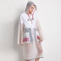 Дождевик женский EVA водонепроницаемый Minshen «Love Rain» белый-полупрозрачный - L (165-175)
