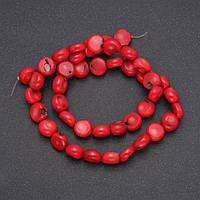 Бусины из натурального камня Коралл монетка d-7(+-)мм L-38см купить оптом в интернет магазине