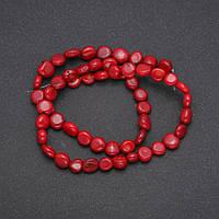 Бусины из натурального камня Коралл монетка d-8(+-)мм L-38см купить оптом в интернет магазине