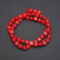 Бусины из натурального камня Коралл монетка d-9(+-)мм L-38см купить оптом в интернет магазине