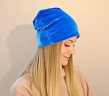 Женская бархатная шапка, мягкая, удобная, универсальная, стильная. Цвет ярко-голубой, бирюзовый