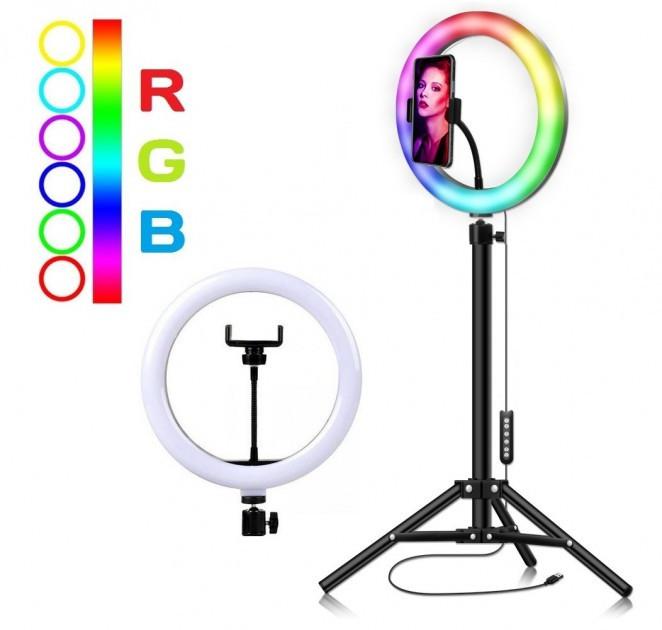 Різнобарвна кільцева LED лампа RGB MJ26, діаметр 26 см, USB (зі штативом 210см)