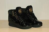 Ботинки женские на меху черные 36-41 р