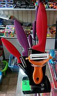 Набор керамических ножей с подставкой + керамическая чистка для овощей и фруктов.