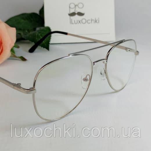 Стильные имиджевые + компьютерные  очки авиаторы с линзой блю блокер