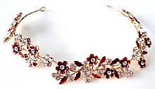 Віночок-гілочка Fashion для зачіски червоні квіти 27 см