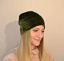 Женская бархатная шапка, мягкая, удобная, универсальная, стильная. Оливковая (зеленая)