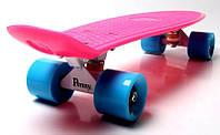 """Скейтборд """"Penny Board Pink"""", малиновый цвет, пенни борд оригинал, матовые колеса оригинал"""