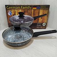 Сковорода антипригарная German Family с гранитным покрытием и крышкой с высокими бортами 24*6.5 см на 3 литра