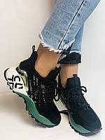 Жіночі кросівки з натуральної шкіри в комбінації з текстилем. Чорні. Розмір 36.37, 38, 39, фото 10