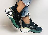 Жіночі кросівки з натуральної шкіри в комбінації з текстилем. Чорні. Розмір 36.37, 38, 39, фото 5