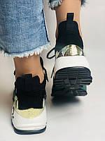 Жіночі кросівки з натуральної шкіри в комбінації з текстилем. Чорні. Розмір 36.37, 38, 39, фото 9