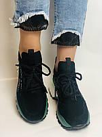 Жіночі кросівки з натуральної шкіри в комбінації з текстилем. Чорні. Розмір 36.37, 38, 39, фото 3