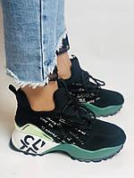 Женские кроссовки из натуральной кожи в комбинации с текстилем. Черные. Размер 36.37, 38, 39, фото 2