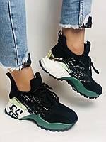 Жіночі кросівки з натуральної шкіри в комбінації з текстилем. Чорні. Розмір 36.37, 38, 39, фото 4
