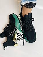 Жіночі кросівки з натуральної шкіри в комбінації з текстилем. Чорні. Розмір 36.37, 38, 39, фото 8