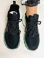 Жіночі кросівки з натуральної шкіри в комбінації з текстилем. Чорні. Розмір 36.37, 38, 39, фото 6