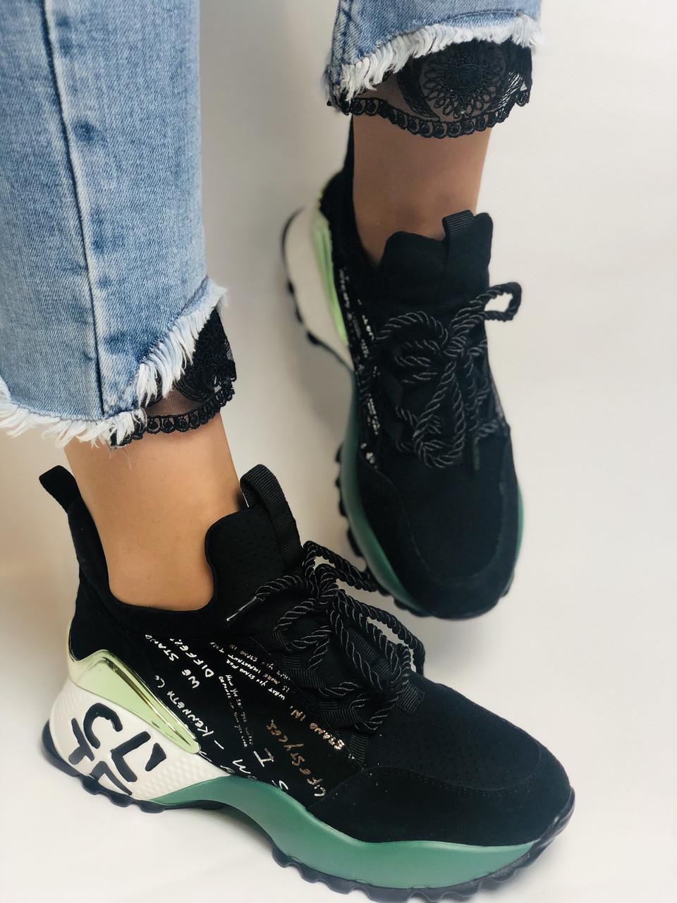 Жіночі кросівки з натуральної шкіри в комбінації з текстилем. Чорні. Розмір 36.37, 38, 39