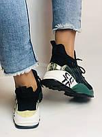 Жіночі кросівки з натуральної шкіри в комбінації з текстилем. Чорні. Розмір 36.37, 38, 39, фото 7