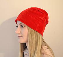 Жіноча оксамитова шапка, м'яка, зручна, універсальна, стильна. Червона