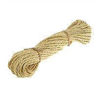 Веревка сизалевая светлая 6мм 50м для когтеточки и декоративной отделки