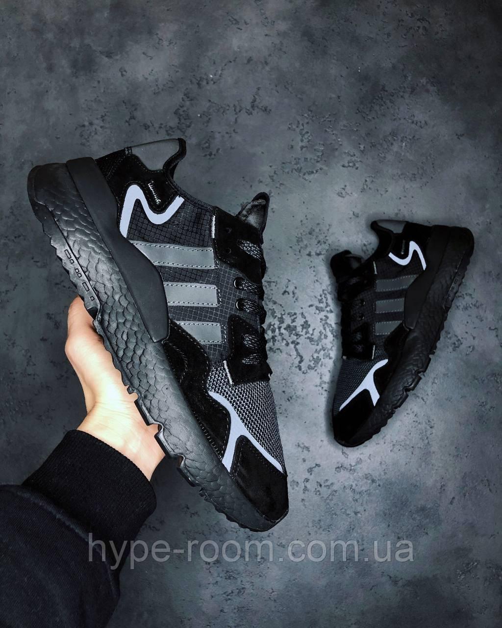 Мужские Кроссовки Adidas Nite Jogger All Black адидас найт джоггер