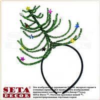Обруч Ёлка (елка) новогодняя со звездочками, зелёная