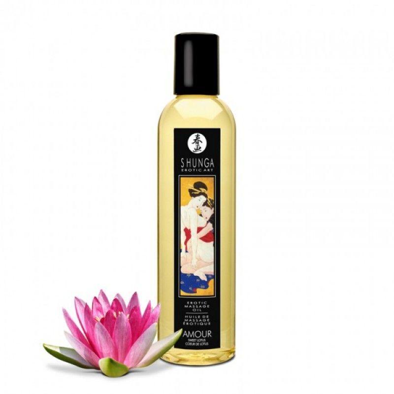 Массажное масло Shunga Amour - Sweet Lotus (250 мл) натуральное увлажняющее