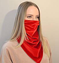 Женский защитный шейный платок-маска из бархата. Красный