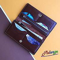 Шкіряне портмоне на кнопці з глянсової шкіри, фото 3