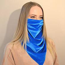 Женский защитный шейный платок-маска из бархата. Оливковый (зеленый) голубой