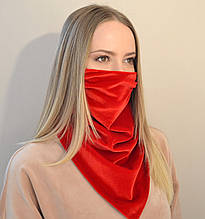 Жіночий захисний шийну хустку-маска з оксамиту. Оливковий (зелений) червоний
