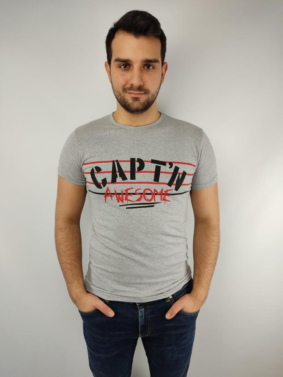 Мужская футболка норма  46-52рр, CAPT^N, серый