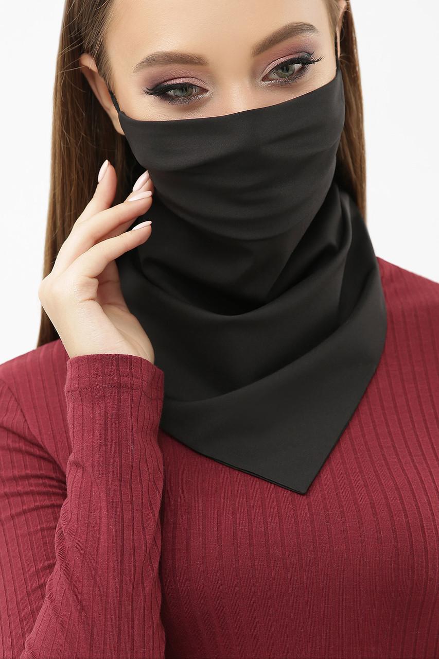 Маска-платок однотонная черная