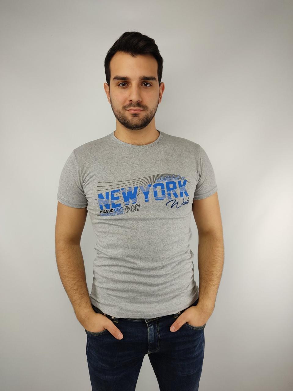 Чоловіча футболка норма 46-52рр, NEW-YORK, сірий