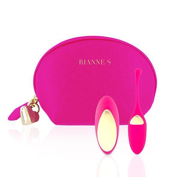 Віброяйце Rianne S: Pulsy Playball Deep Pink з вібруючим пультом Д/У, косметичка-чохол