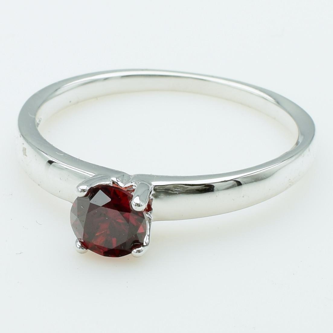 XUPING Кольцо Родий с красным цирконом Высота 0.6см, Размер 20.5