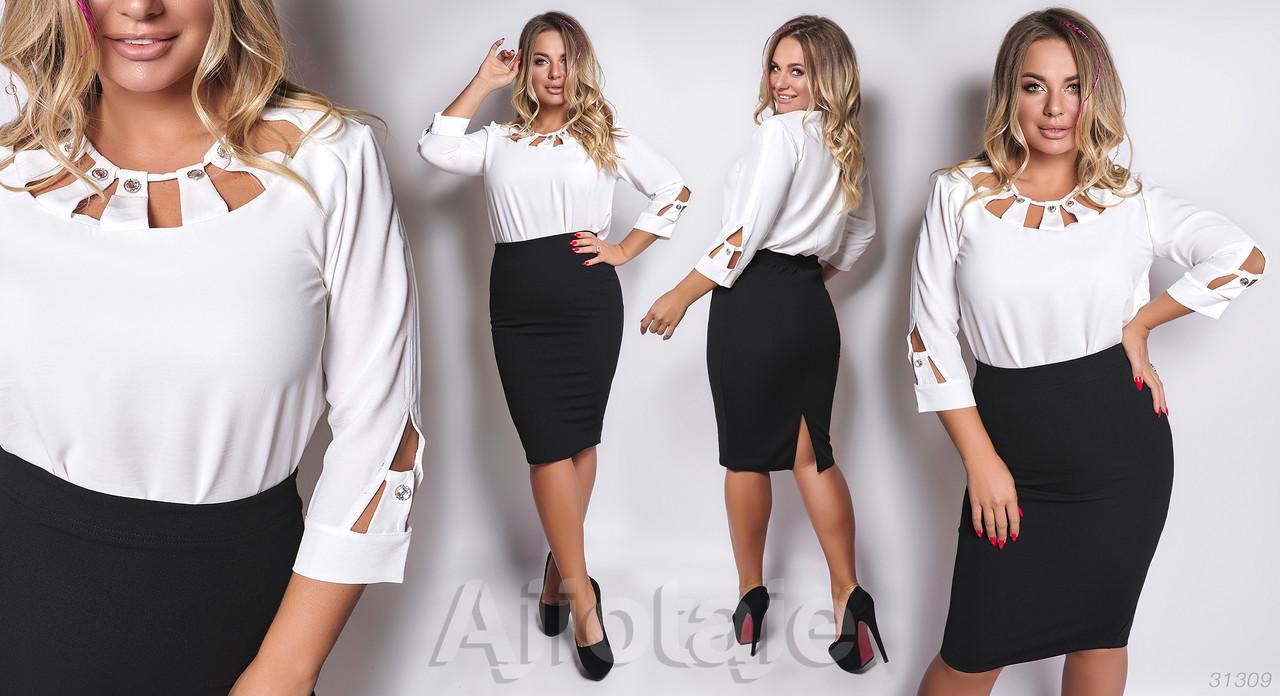 Стильный женский костюм-двойка с юбкой батал р.48-62  Ajiotaje XL