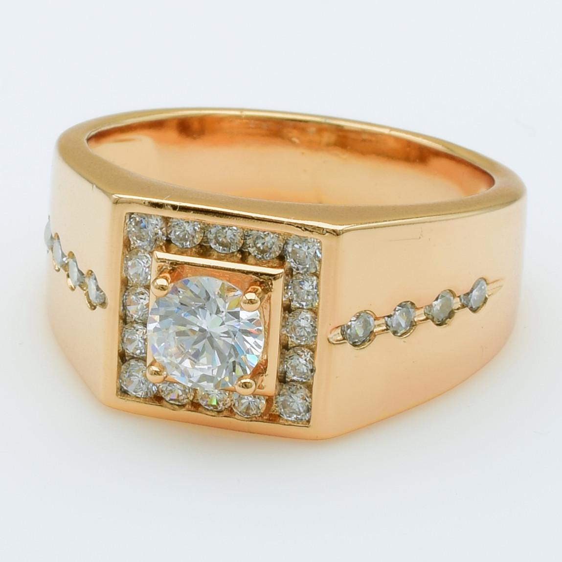 XUPING Перстень Позолота 18к з білими цирконами, Висота 1.1 см, Розмір 19.5