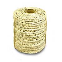Веревка сизалевая светлая 10мм 50м для когтеточки и декоративной отделки