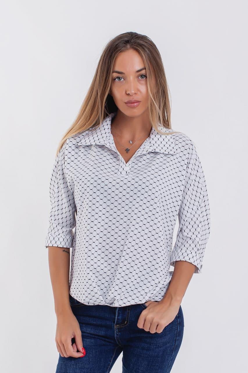 Жіноча блузка-сорочка з коміром 42-56 (в кольорах)