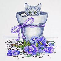 """Набор для вышивания крестом """"Flower Pot Kitty (Котенок в цветочном горшке)"""""""