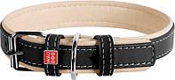 7202 Collar WauDog Soft Кожаный ошейник черный, 38-49см/25мм