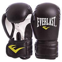 Перчатки боксерские на липучке EVERLAST черные MA-5018, 10 унций