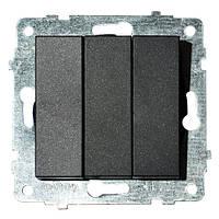 Механізм вимикача 3-клавішного GRANO чорний
