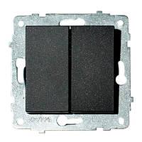 Механізм вимикача 2-клавішного GRANO чорний