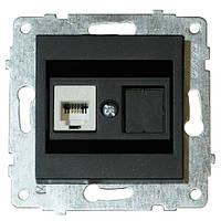 Механізм розетки комп'ютерної (CAT6) GRANO чорний